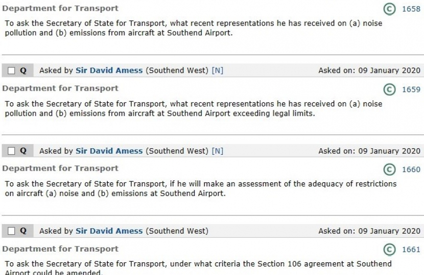 Sir David asks four Parliamentary Questions on Southend Airport